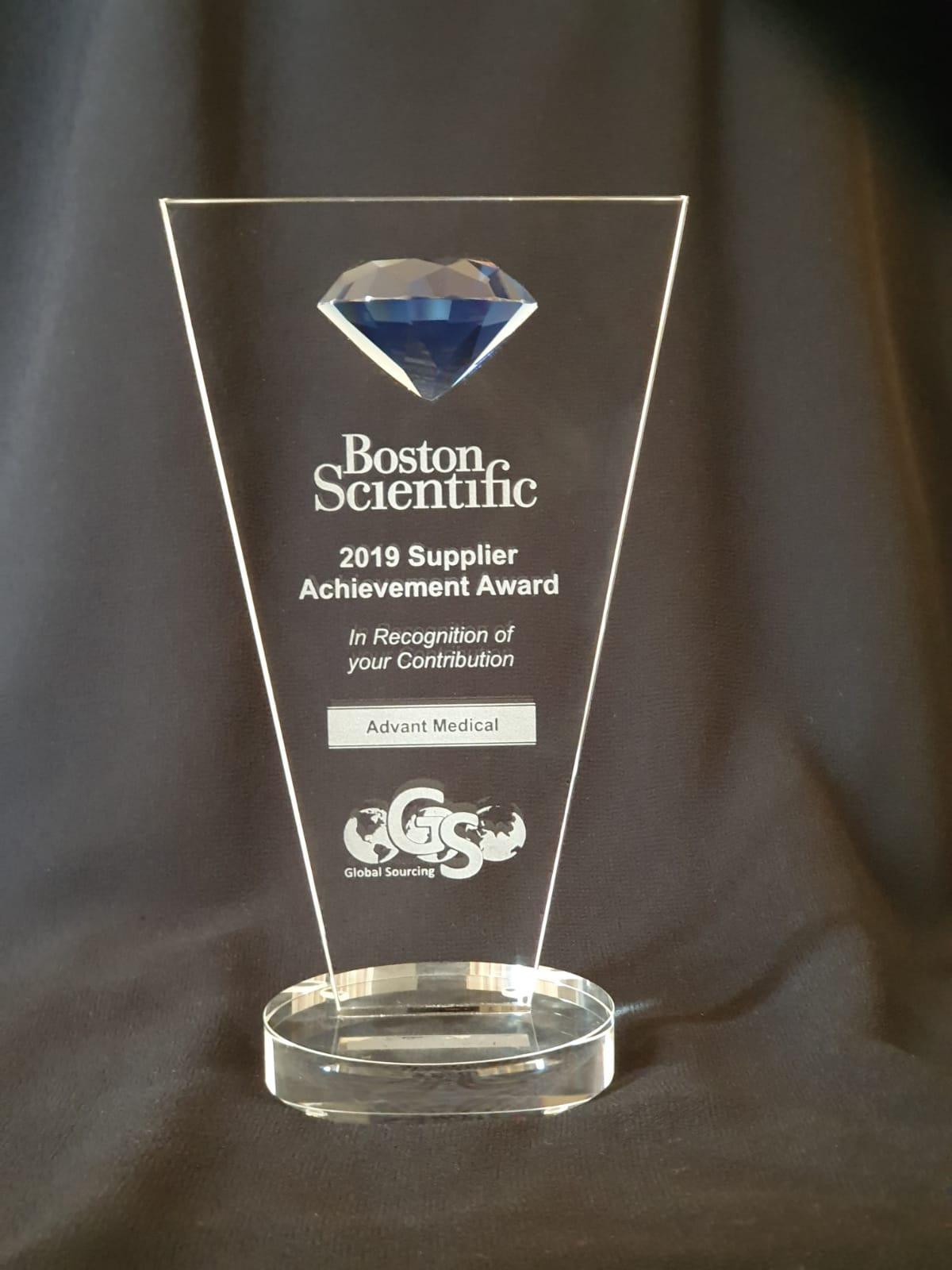 Advant Medical - Advant Medical Awarded 2019 Global Supplier Achievement Award from Boston Scientific